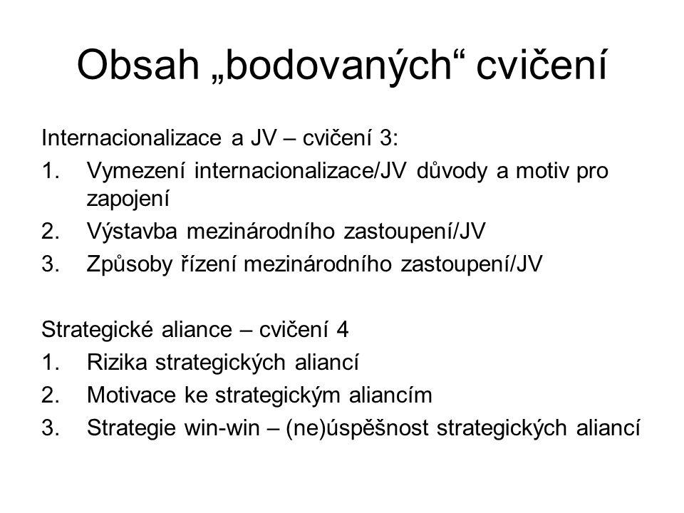 """Obsah """"bodovaných cvičení Internacionalizace a JV – cvičení 3: 1.Vymezení internacionalizace/JV důvody a motiv pro zapojení 2.Výstavba mezinárodního zastoupení/JV 3.Způsoby řízení mezinárodního zastoupení/JV Strategické aliance – cvičení 4 1.Rizika strategických aliancí 2.Motivace ke strategickým aliancím 3.Strategie win-win – (ne)úspěšnost strategických aliancí"""