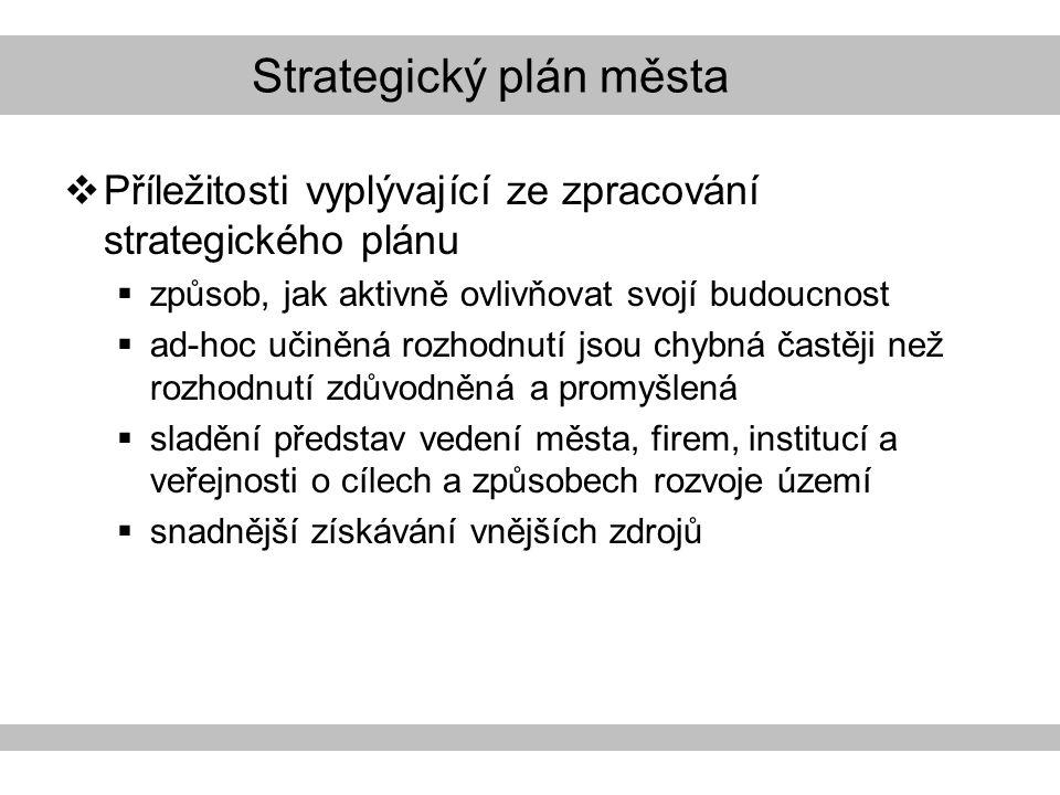 Strategický plán města  Příležitosti vyplývající ze zpracování strategického plánu  způsob, jak aktivně ovlivňovat svojí budoucnost  ad-hoc učiněná rozhodnutí jsou chybná častěji než rozhodnutí zdůvodněná a promyšlená  sladění představ vedení města, firem, institucí a veřejnosti o cílech a způsobech rozvoje území  snadnější získávání vnějších zdrojů