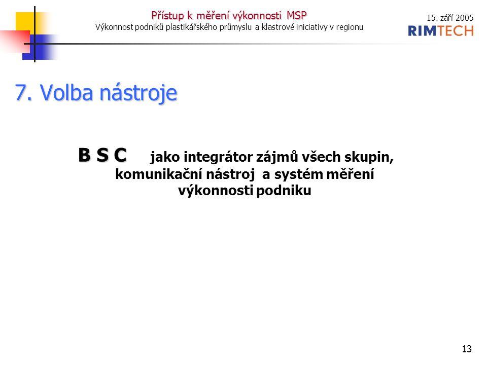 15. září 2005 Přístup k měření výkonnosti MSP Výkonnost podniků plastikářského průmyslu a klastrové iniciativy v regionu 13 7. Volba nástroje B S C B