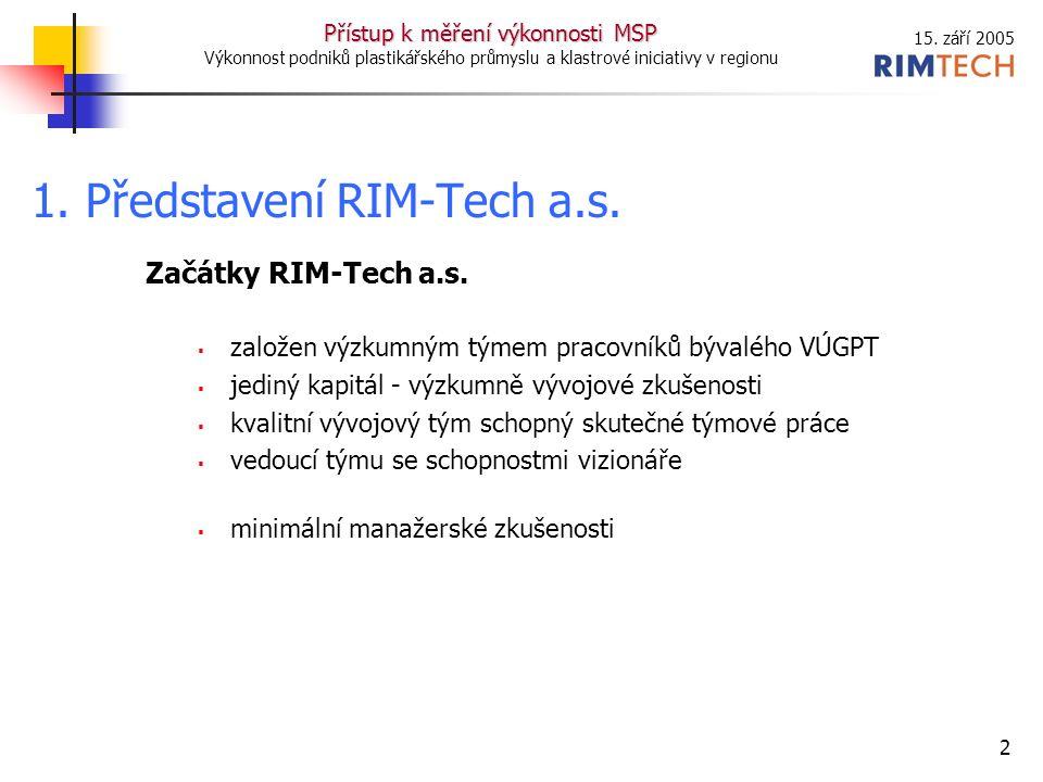 15. září 2005 Přístup k měření výkonnosti MSP Výkonnost podniků plastikářského průmyslu a klastrové iniciativy v regionu 2 Začátky RIM-Tech a.s.  zal