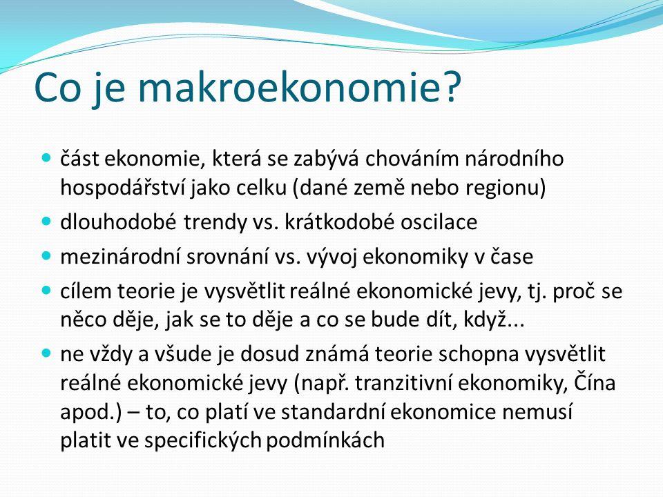 Co je makroekonomie? část ekonomie, která se zabývá chováním národního hospodářství jako celku (dané země nebo regionu) dlouhodobé trendy vs. krátkodo