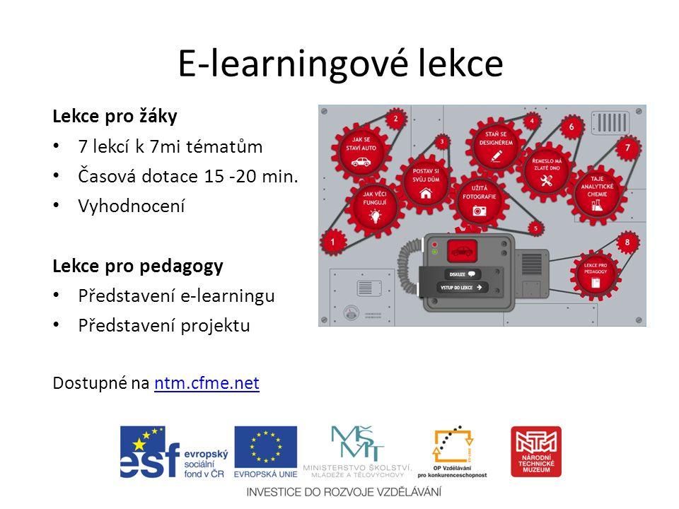 E-learningové lekce Lekce pro žáky 7 lekcí k 7mi tématům Časová dotace 15 -20 min.