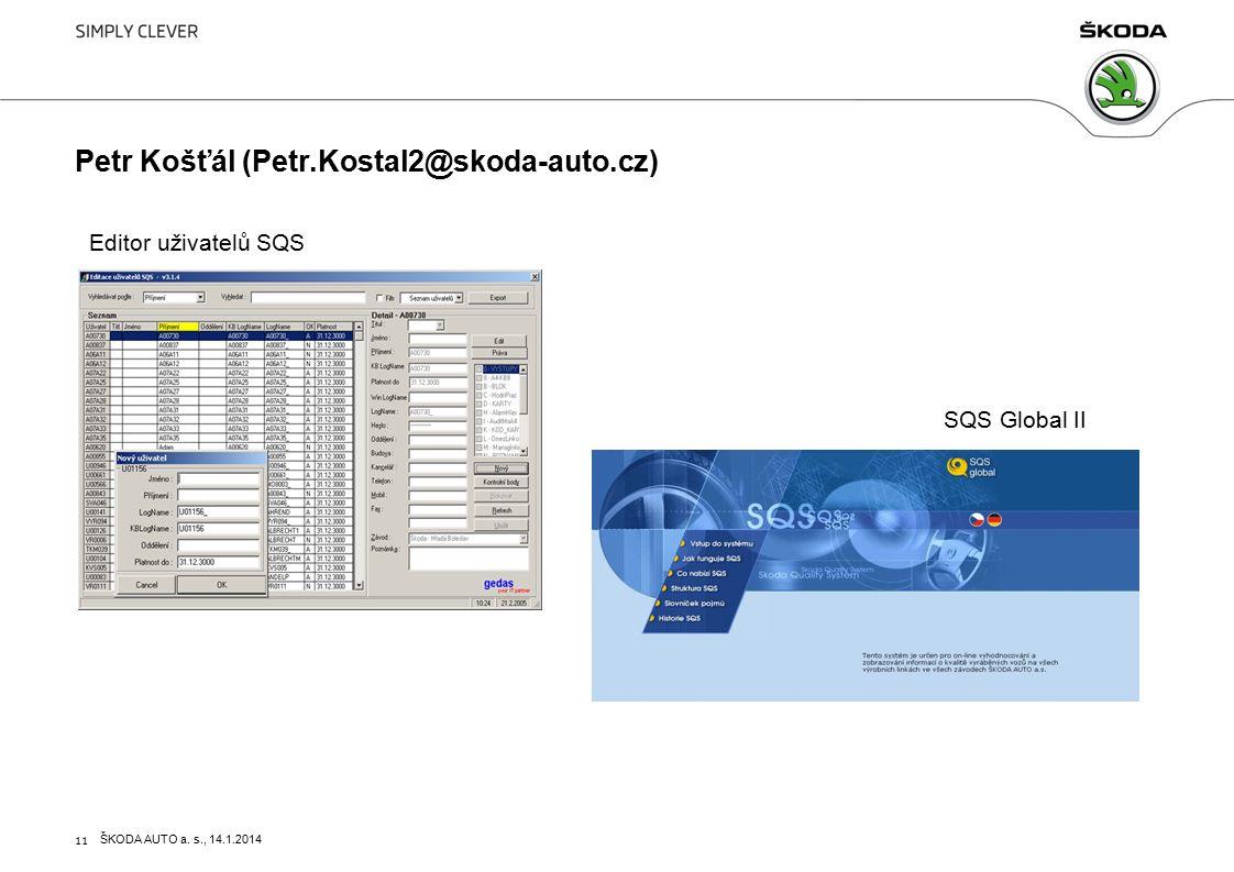 11 Petr Košťál (Petr.Kostal2@skoda-auto.cz) Editor uživatelů SQS SQS Global II ŠKODA AUTO a.