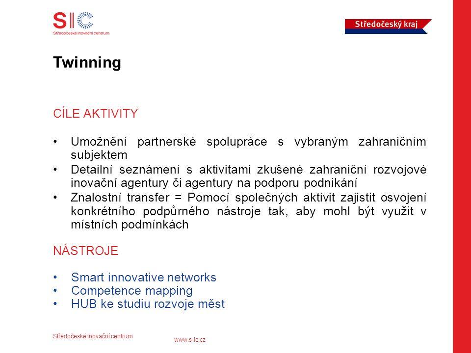 Středočeské inovační centrum www.s-ic.cz Twinning CÍLE AKTIVITY Umožnění partnerské spolupráce s vybraným zahraničním subjektem Detailní seznámení s aktivitami zkušené zahraniční rozvojové inovační agentury či agentury na podporu podnikání Znalostní transfer = Pomocí společných aktivit zajistit osvojení konkrétního podpůrného nástroje tak, aby mohl být využit v místních podmínkách NÁSTROJE Smart innovative networks Competence mapping HUB ke studiu rozvoje měst