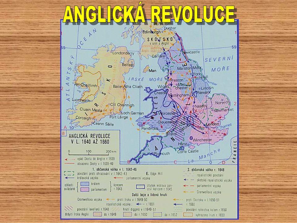 """1645 INDEPENDENTŮ1649 1645 – velká porážka královských vojsk – nastolena vláda INDEPENDENTŮ – nejradikálnější část puritánů – král v roce 1649 popraven 1652 1652 – irský (katolický) odpor utopen v krvi – obsazeno i Skotsko, které postupně splývá s Anglií ZÁKON O PLAVBĚ A OBCHODU - zápas o mezinárodní obchod – ZÁKON O PLAVBĚ A OBCHODU (Navigační akta) – válka s Nizozemskem 1653 1653 – Cromwell rozehnal parlament: """"Vysedávali jste tu až příliš dlouho na tu trochu dobrého, co jste vykonali … Ve jménu božím, jděte! - stal se doživotním LORDEM PROTEKTOREM = nastolení vojenské diktatury 1654 1654 – úspěch ve válce s Nizozemskem – uznání """"Navigačních akt – Anglie se stává námořní velmocí 1658 1660 1658 – umírá Cromwell – 1660 – Skotové dobývají Londýn – znovunastolení monarchie"""