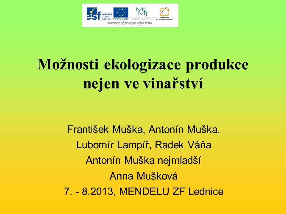 Možnosti ekologizace produkce nejen ve vinařství František Muška, Antonín Muška, Lubomír Lampíř, Radek Váňa Antonín Muška nejmladší Anna Mušková 7.