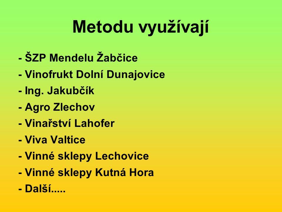 Metodu využívají - ŠZP Mendelu Žabčice - Vinofrukt Dolní Dunajovice - Ing.