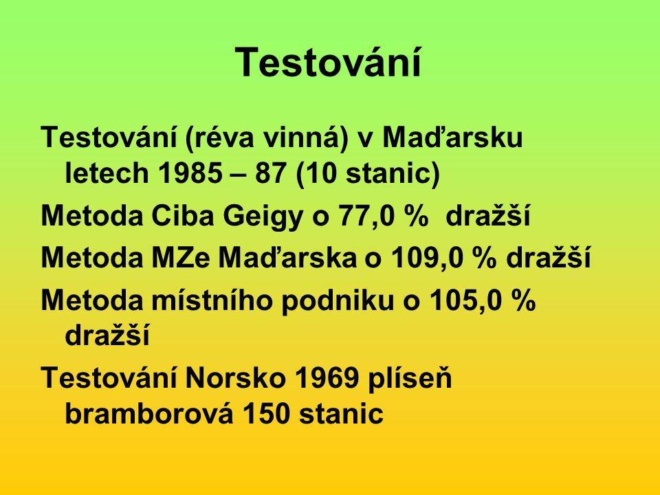 Testování Testování (réva vinná) v Maďarsku letech 1985 – 87 (10 stanic) Metoda Ciba Geigy o 77,0 % dražší Metoda MZe Maďarska o 109,0 % dražší Metoda místního podniku o 105,0 % dražší Testování Norsko 1969 plíseň bramborová 150 stanic