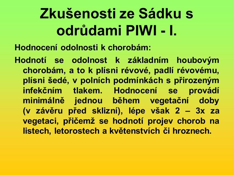 Zkušenosti ze Sádku s odrůdami PIWI - I.