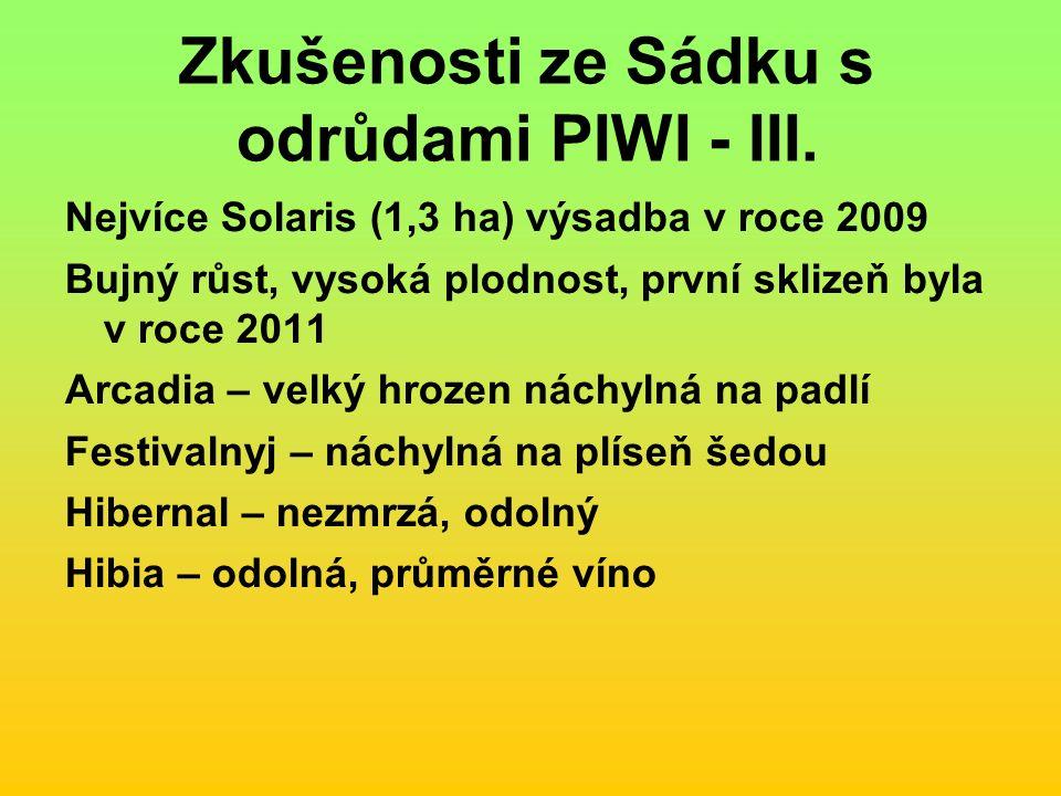 Zkušenosti ze Sádku s odrůdami PIWI - III.