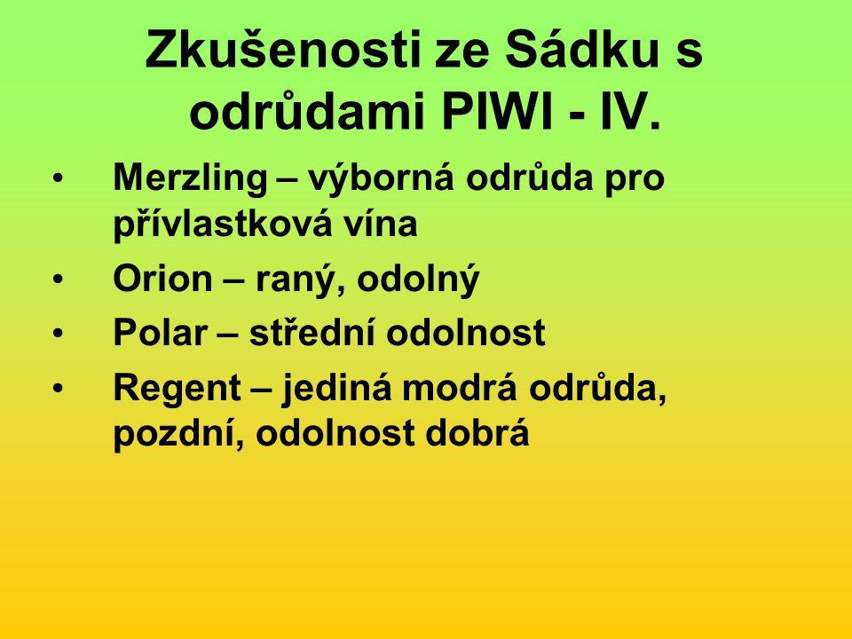 Zkušenosti ze Sádku s odrůdami PIWI - IV.