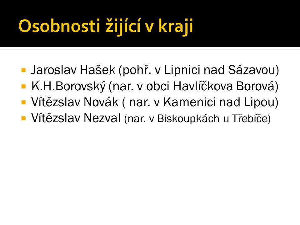  Jaroslav Hašek (pohř. v Lipnici nad Sázavou)  K.H.Borovský (nar.