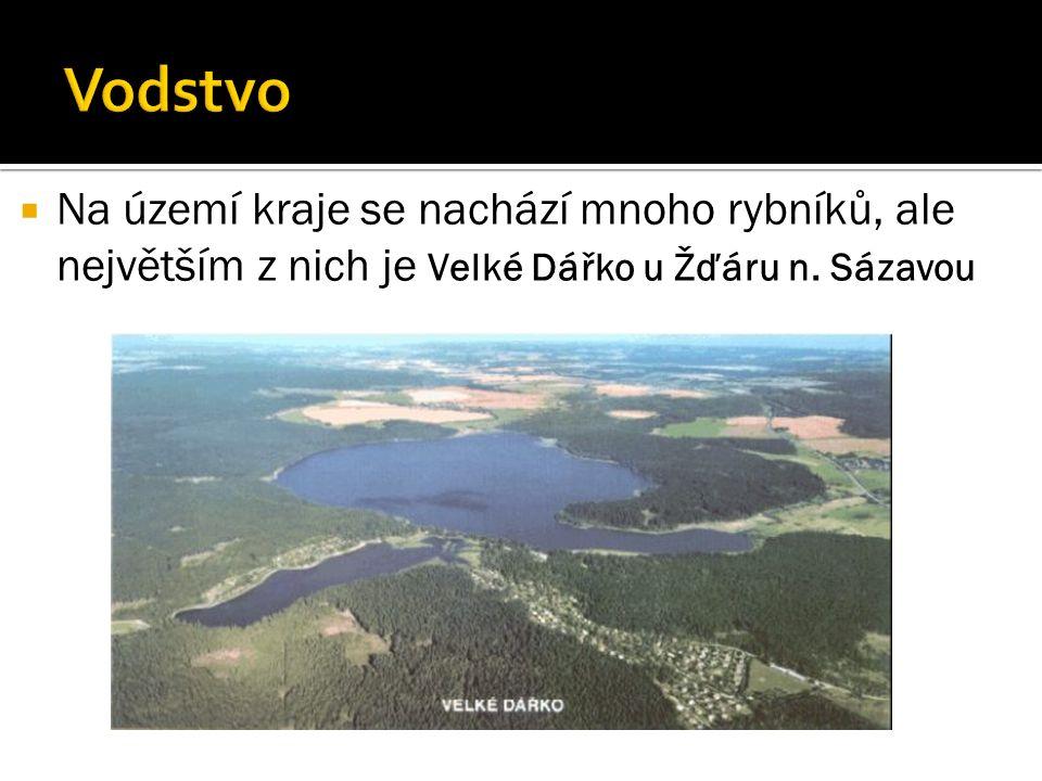  Na území kraje se nachází mnoho rybníků, ale největším z nich je Velké Dářko u Žďáru n. Sázavou