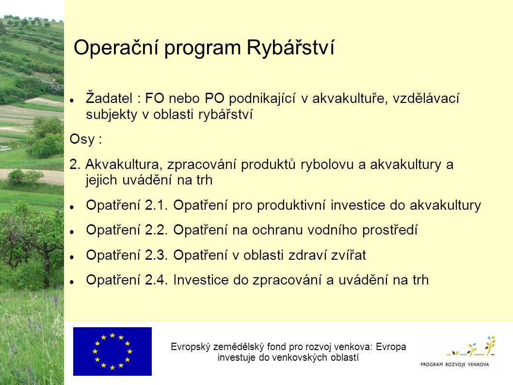 Operační program Rybářství Žadatel : FO nebo PO podnikající v akvakultuře, vzdělávací subjekty v oblasti rybářství Osy : 2.