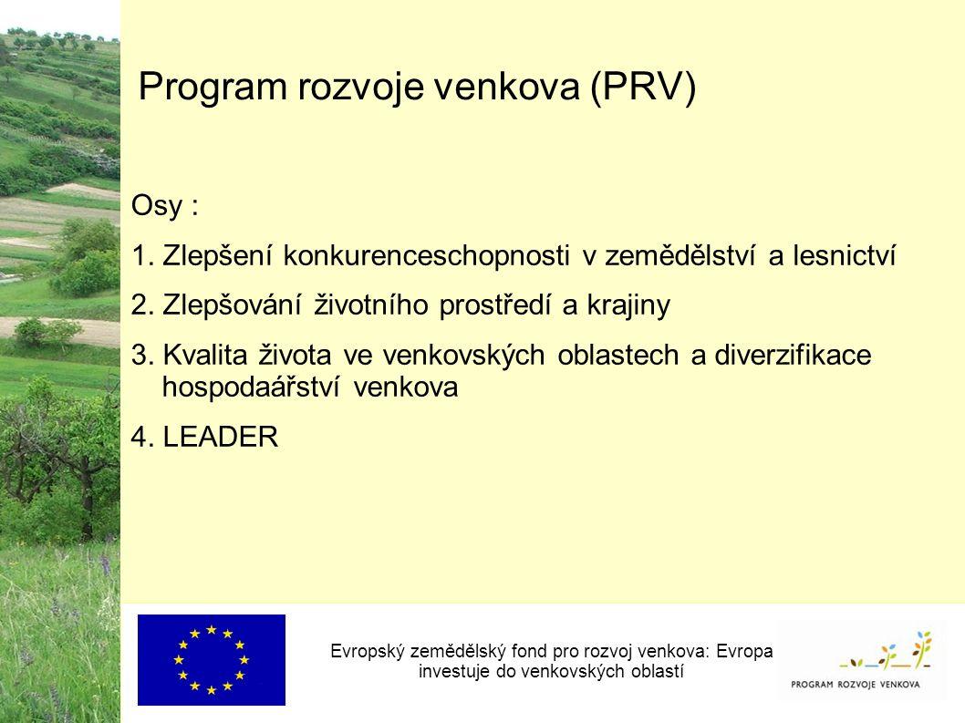 Program rozvoje venkova (PRV) Osy : 1. Zlepšení konkurenceschopnosti v zemědělství a lesnictví 2.