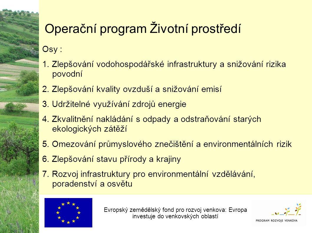 Operační program Životní prostředí Osy : 1.