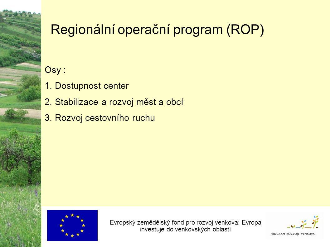Regionální operační program (ROP) Osy : 1. Dostupnost center 2.