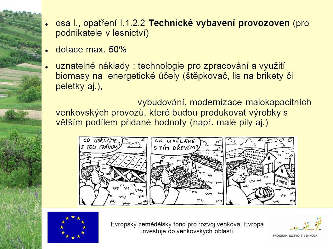 osa I., opatření I.1.2.2 Technické vybavení provozoven (pro podnikatele v lesnictví) dotace max.