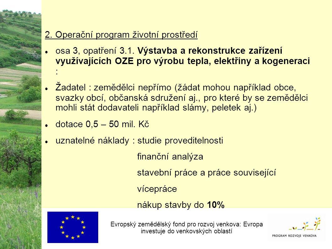 2. Operační program životní prostředí osa 3, opatření 3.1.
