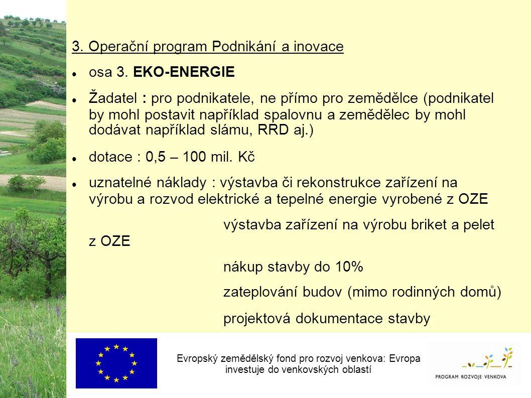 3. Operační program Podnikání a inovace osa 3.