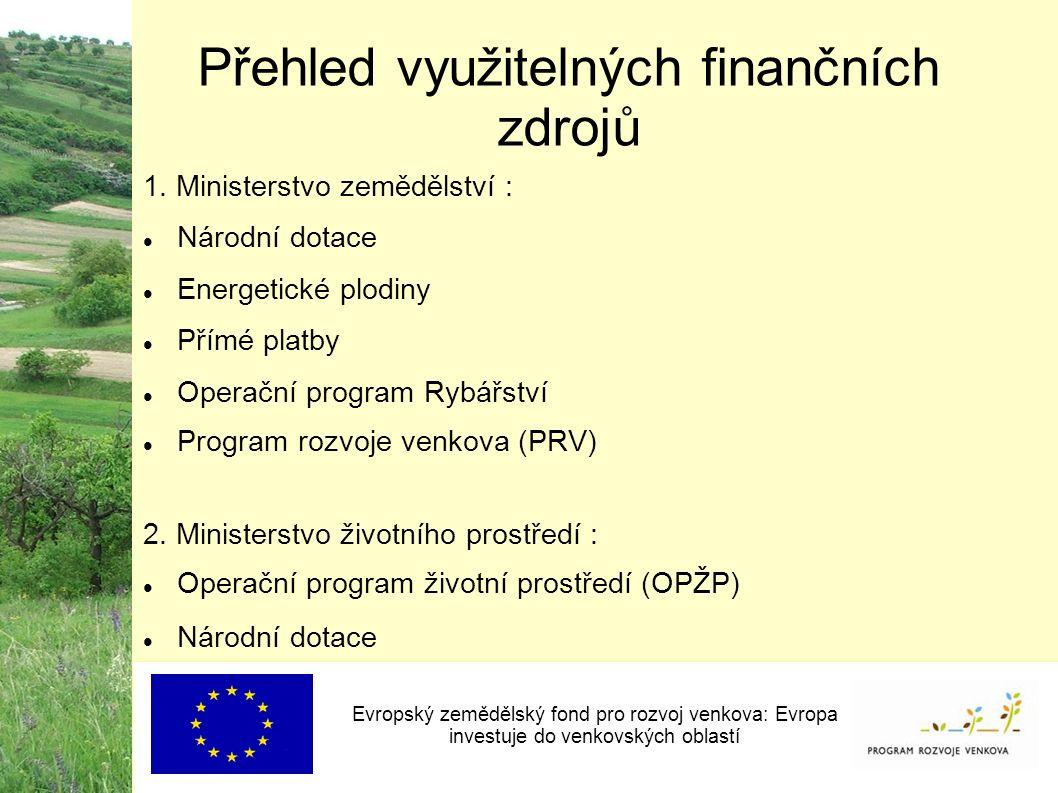 Přehled využitelných finančních zdrojů 1.