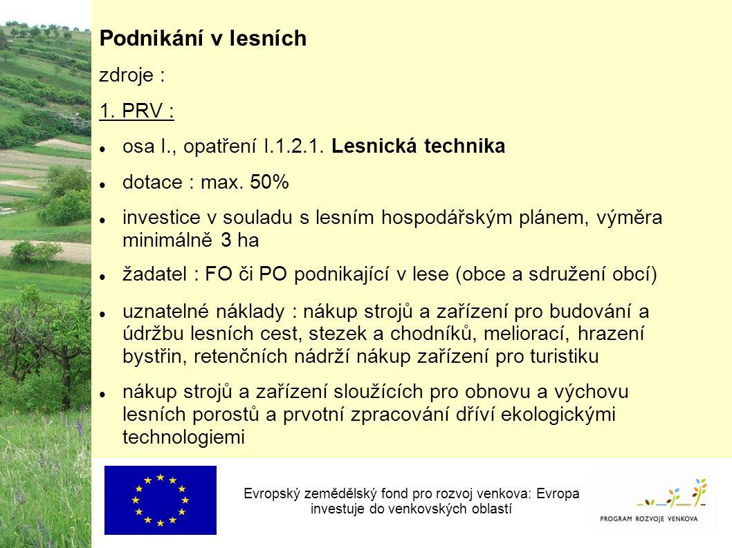 Podnikání v lesních zdroje : 1. PRV : osa I., opatření I.1.2.1.