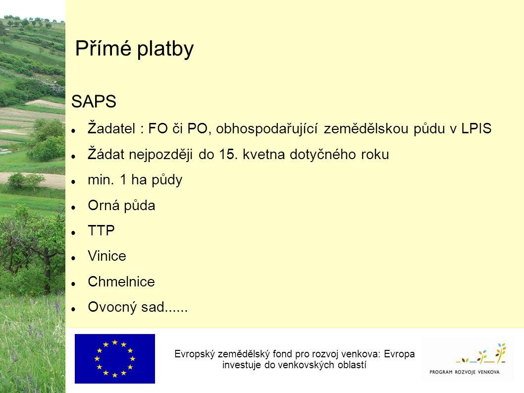 Přímé platby SAPS Žadatel : FO či PO, obhospodařující zemědělskou půdu v LPIS Žádat nejpozději do 15.