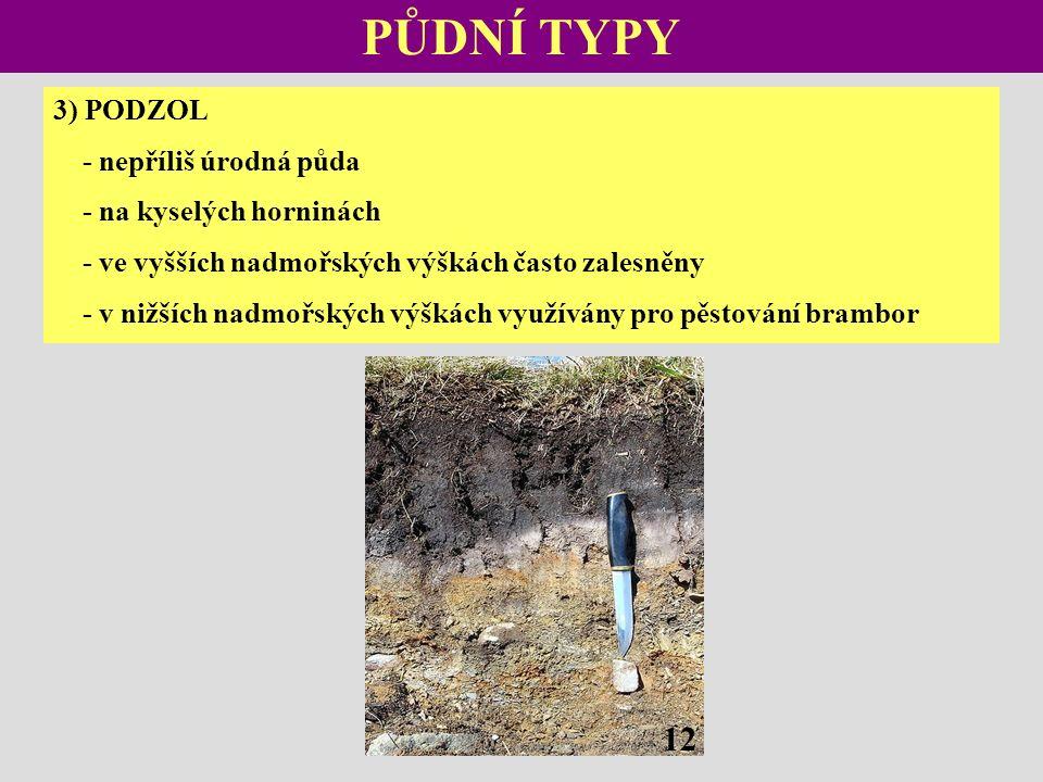 PŮDNÍ TYPY 3) PODZOL - nepříliš úrodná půda - na kyselých horninách - ve vyšších nadmořských výškách často zalesněny - v nižších nadmořských výškách využívány pro pěstování brambor 12