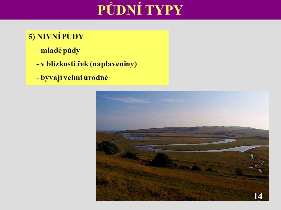 PŮDNÍ TYPY 5) NIVNÍ PŮDY - mladé půdy - v blízkosti řek (naplaveniny) - bývají velmi úrodné 14
