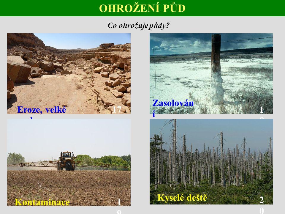 OHROŽENÍ PŮD Co ohrožuje půdy.