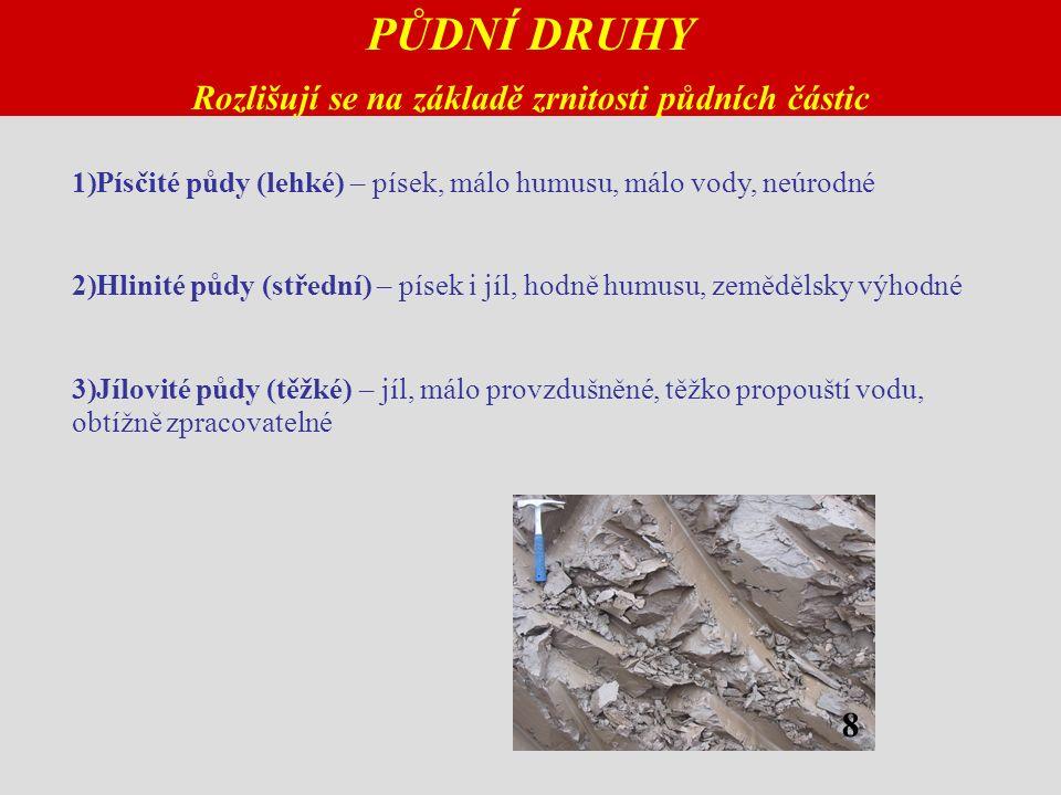 PŮDNÍ DRUHY Rozlišují se na základě zrnitosti půdních částic 1)Písčité půdy (lehké) – písek, málo humusu, málo vody, neúrodné 2)Hlinité půdy (střední) – písek i jíl, hodně humusu, zemědělsky výhodné 3)Jílovité půdy (těžké) – jíl, málo provzdušněné, těžko propouští vodu, obtížně zpracovatelné 8