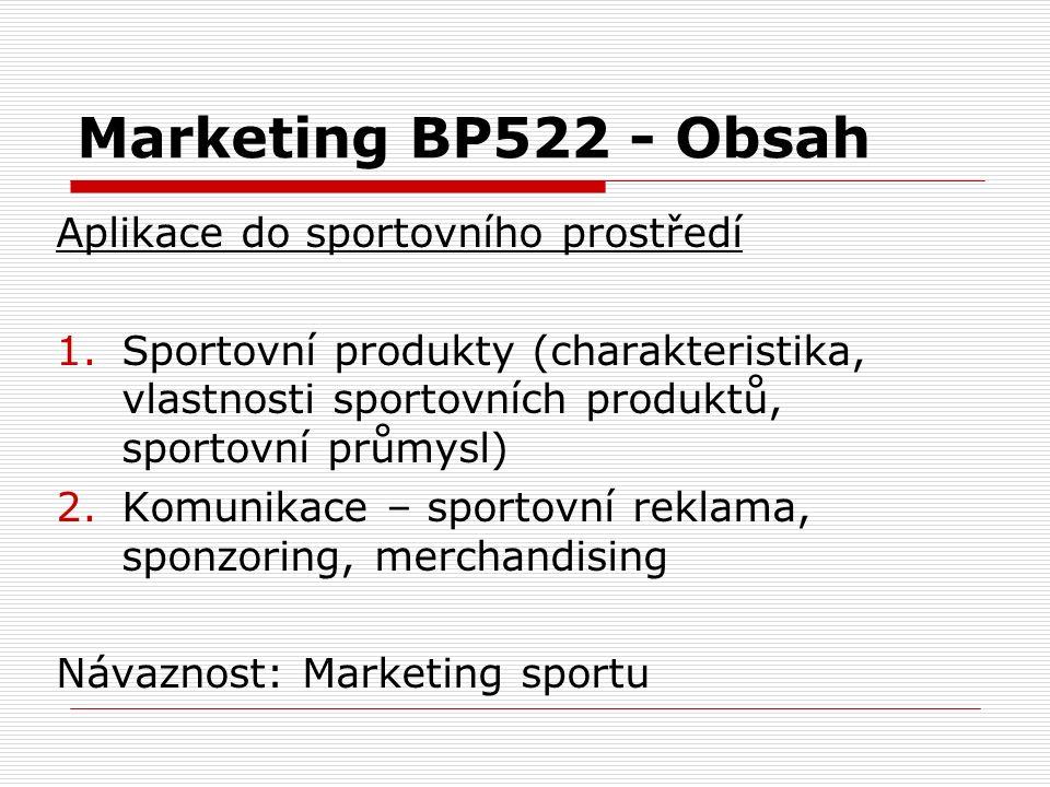 Marketing BP522 - Obsah Aplikace do sportovního prostředí 1.Sportovní produkty (charakteristika, vlastnosti sportovních produktů, sportovní průmysl) 2.Komunikace – sportovní reklama, sponzoring, merchandising Návaznost: Marketing sportu