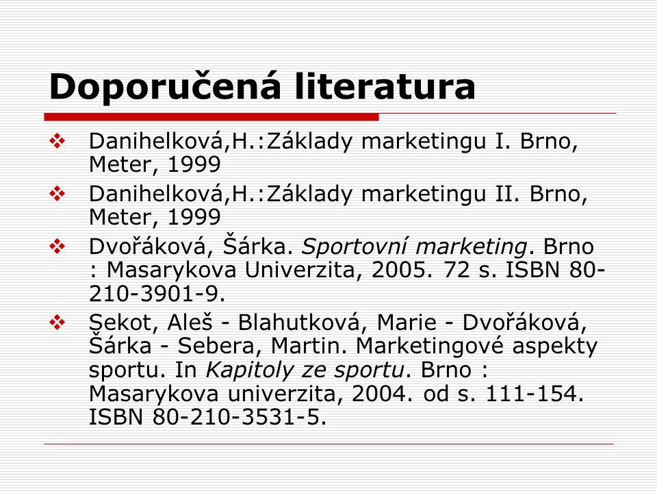 Doporučená literatura  Danihelková,H.:Základy marketingu I.