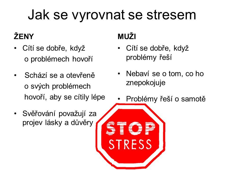 Jak se vyrovnat se stresem ŽENYMUŽI Cítí se dobře, když o problémech hovoří Schází se a otevřeně o svých problémech hovoří, aby se cítily lépe Svěřová