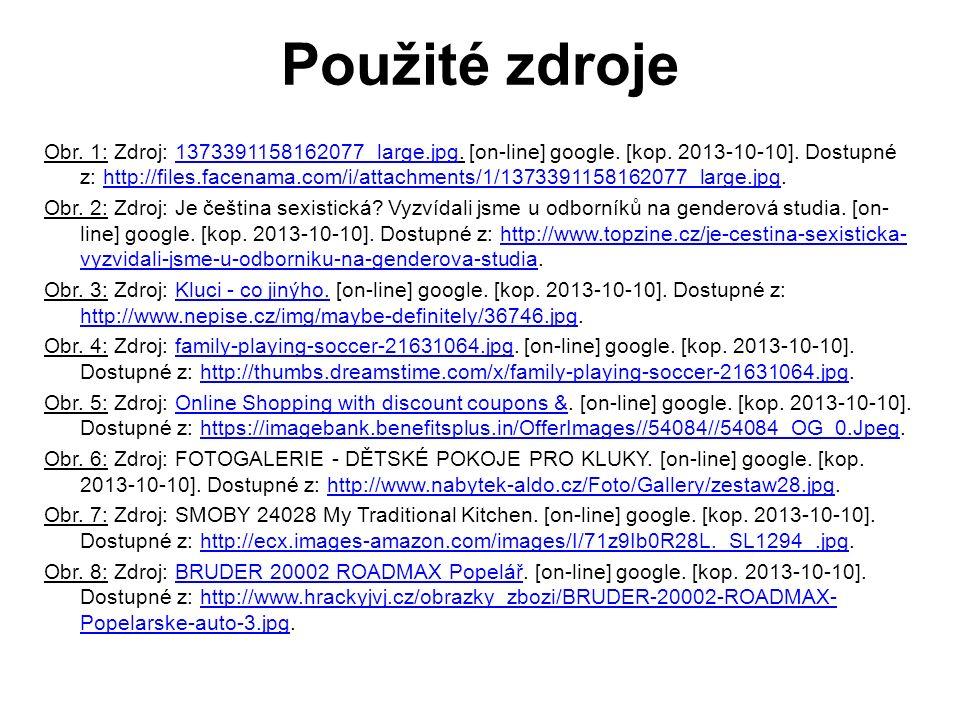 Použité zdroje Obr. 1: Zdroj: 1373391158162077_large.jpg. [on-line] google. [kop. 2013-10-10]. Dostupné z: http://files.facenama.com/i/attachments/1/1