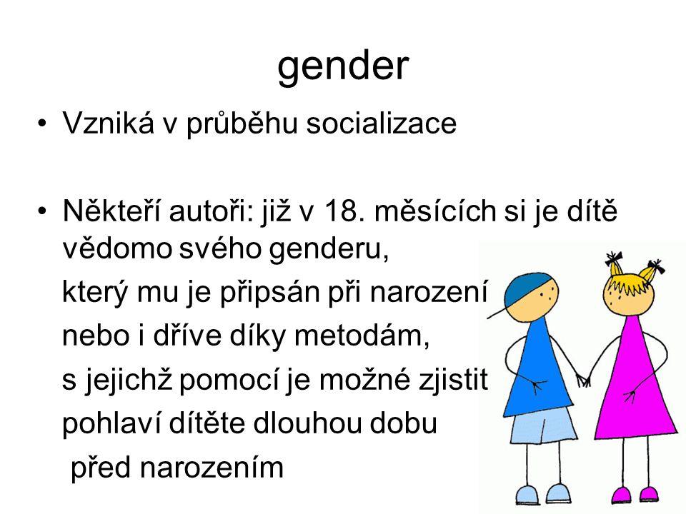 gender Vzniká v průběhu socializace Někteří autoři: již v 18. měsících si je dítě vědomo svého genderu, který mu je připsán při narození nebo i dříve