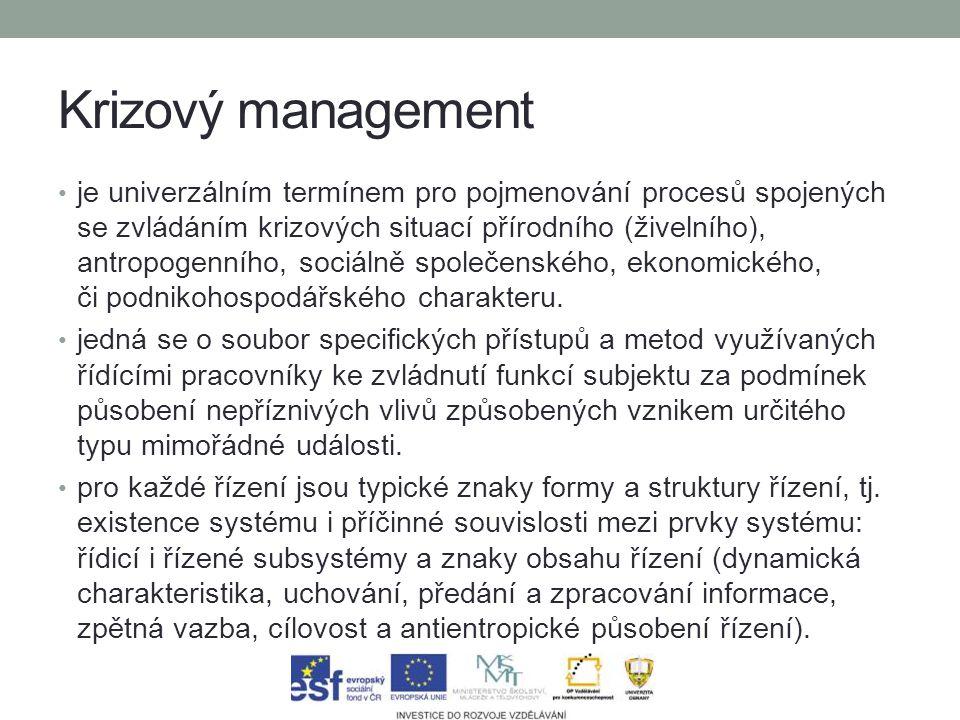 Krizový management je univerzálním termínem pro pojmenování procesů spojených se zvládáním krizových situací přírodního (živelního), antropogenního, sociálně společenského, ekonomického, či podnikohospodářského charakteru.