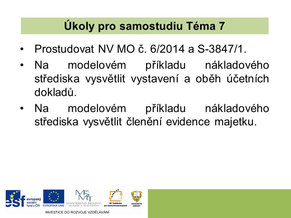 Prostudovat NV MO č. 6/2014 a S-3847/1. Na modelovém příkladu nákladového střediska vysvětlit vystavení a oběh účetních dokladů. Na modelovém příkladu