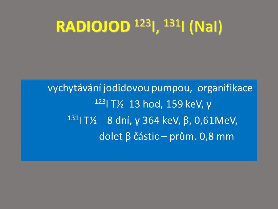 RADIOJOD 123 I, 131 I (NaI) vychytávání jodidovou pumpou, organifikace 123 I T½ 13 hod, 159 keV, γ 131 I T½ 8 dní, γ 364 keV, β, 0,61MeV, dolet β část