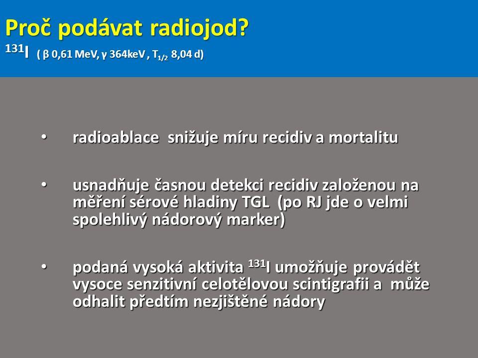 Proč podávat radiojod? 131 I ( β 0,61 MeV, γ 364keV, T 1/2 8,04 d) radioablace snižuje míru recidiv a mortalitu radioablace snižuje míru recidiv a mor