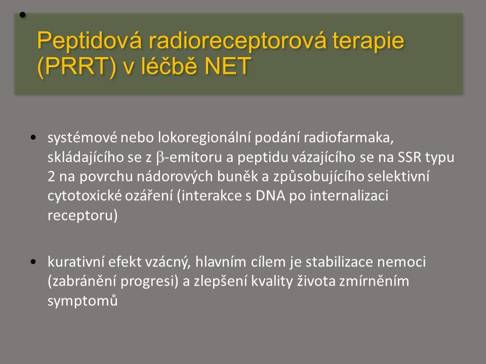 Peptidová radioreceptorová terapie (PRRT) v léčbě NET systémové nebo lokoregionální podání radiofarmaka, skládajícího se z  -emitoru a peptidu vázají