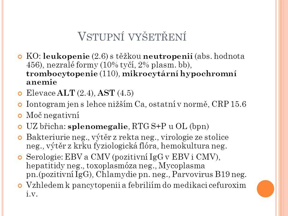 P RŮBĚH HOSPITALIZACE přetrvávání febrilních špiček až 40stC, obj.
