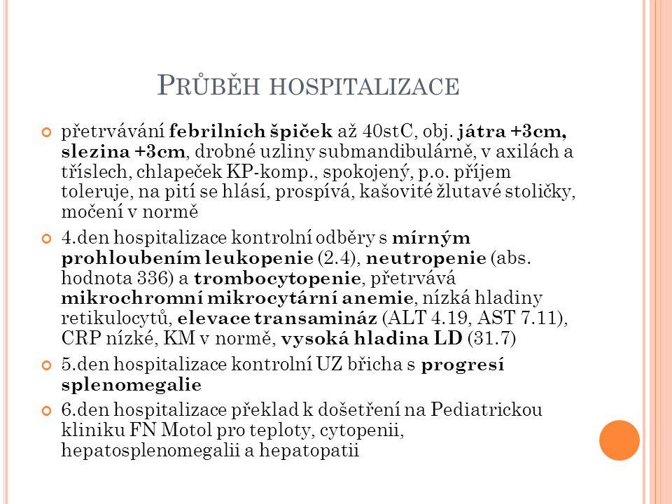 H OSPITALIZACE NA PEDIATRICKÉ KLINICE FN MOTOL Potvrzena cytopenie (leu 2.3, Hb 102, tro 92) a hepatosplenomegalie Punkce kostní dřeně s nálezem aktivace T-lymfocytů, exprese perforinu v normě Dle laboratorních odběrů (cytopenie, hepatopatie, hypertriglyceridemie, vysoké LDH, hypofibrinogenémie, vysoký ferritin a sCD25) a klinického nálezu (horečka, hepatosplenomegalie) podezření na hemofagocytující lymfohistiocytózu, která následně potvrzena geneticky (mutace genu XIAP, matka přenašečka) LP s nálezem pleocytózy 31/3 (60%lymfo, 40%mono), bez zvýšené bílkoviny – hodnoceno jako CNS postižení Zahájena léčba dle protokolu EURO HIT HLH Po zahájení léčby přechodně reaktivace zákl.