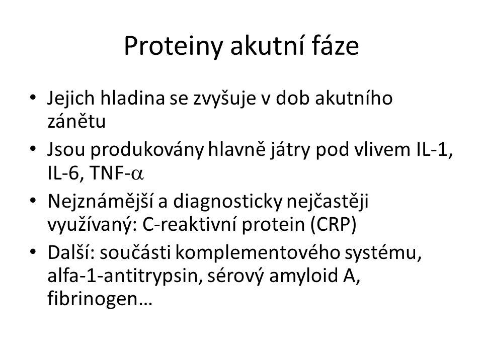 Proteiny akutní fáze Jejich hladina se zvyšuje v dob akutního zánětu Jsou produkovány hlavně játry pod vlivem IL-1, IL-6, TNF-  Nejznámější a diagnosticky nejčastěji využívaný: C-reaktivní protein (CRP) Další: součásti komplementového systému, alfa-1-antitrypsin, sérový amyloid A, fibrinogen…