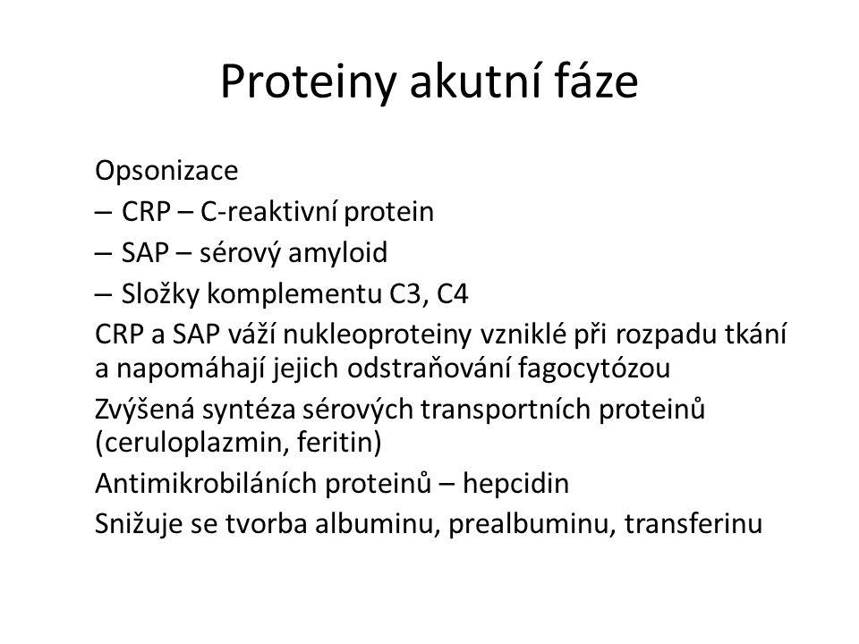 Proteiny akutní fáze Opsonizace – CRP – C-reaktivní protein – SAP – sérový amyloid – Složky komplementu C3, C4 CRP a SAP váží nukleoproteiny vzniklé při rozpadu tkání a napomáhají jejich odstraňování fagocytózou Zvýšená syntéza sérových transportních proteinů (ceruloplazmin, feritin) Antimikrobiláních proteinů – hepcidin Snižuje se tvorba albuminu, prealbuminu, transferinu