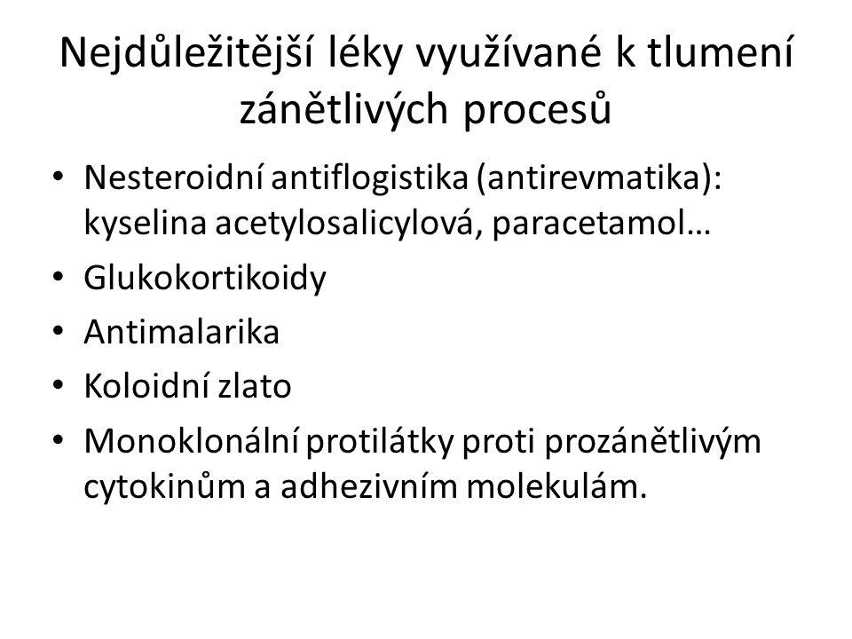Nejdůležitější léky využívané k tlumení zánětlivých procesů Nesteroidní antiflogistika (antirevmatika): kyselina acetylosalicylová, paracetamol… Glukokortikoidy Antimalarika Koloidní zlato Monoklonální protilátky proti prozánětlivým cytokinům a adhezivním molekulám.