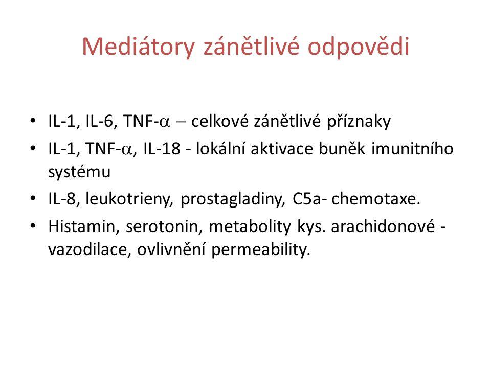 Mediátory zánětlivé odpovědi IL-1, IL-6, TNF-  celkové zánětlivé příznaky IL-1, TNF- , IL-18 - lokální aktivace buněk imunitního systému IL-8, leukotrieny, prostagladiny, C5a- chemotaxe.