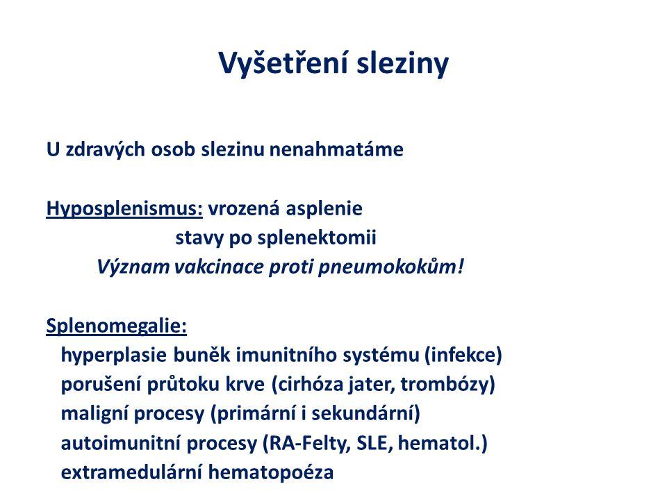 Vyšetření sleziny U zdravých osob slezinu nenahmatáme Hyposplenismus: vrozená asplenie stavy po splenektomii Význam vakcinace proti pneumokokům.