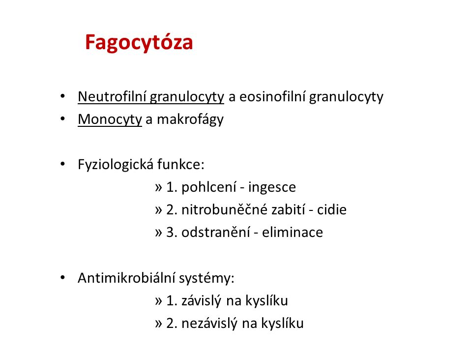 Neutrofilní granulocyty a eosinofilní granulocyty Monocyty a makrofágy Fyziologická funkce: » 1.