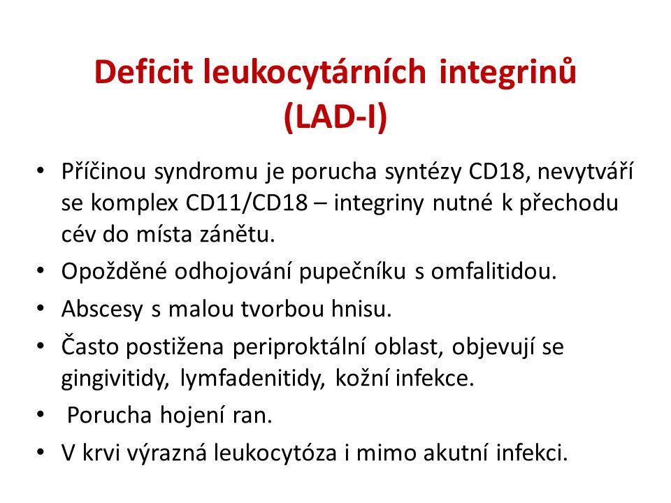 Příčinou syndromu je porucha syntézy CD18, nevytváří se komplex CD11/CD18 – integriny nutné k přechodu cév do místa zánětu.
